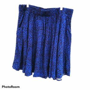 Torrid blue animal print skirt